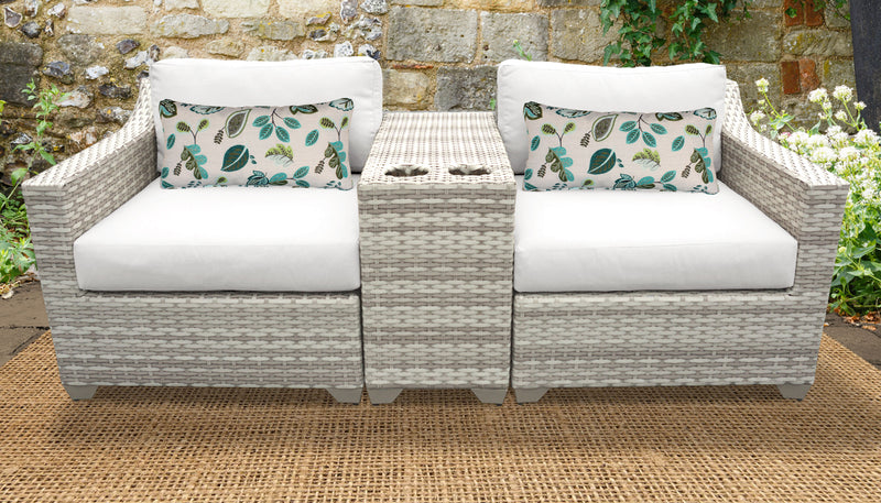 TK CLASSICS Fairmont 3 Piece Outdoor Wicker Patio Furniture Set 3b - Sail White
