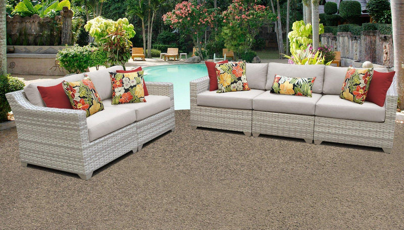 TK CLASSICS Fairmont 5 Piece Outdoor Wicker Patio Furniture Set 5a - Beige | Kipe it