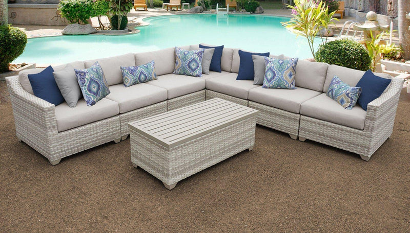 TK CLASSICS Fairmont 8 Piece Outdoor Wicker Patio Furniture Set 8a - Beige | Kipe it