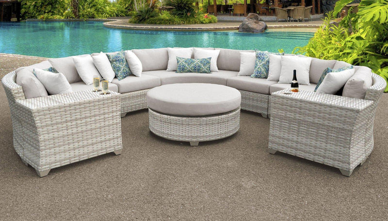 TK CLASSICS Fairmont 8 Piece Outdoor Wicker Patio Furniture Set 8b - Beige | Kipe it