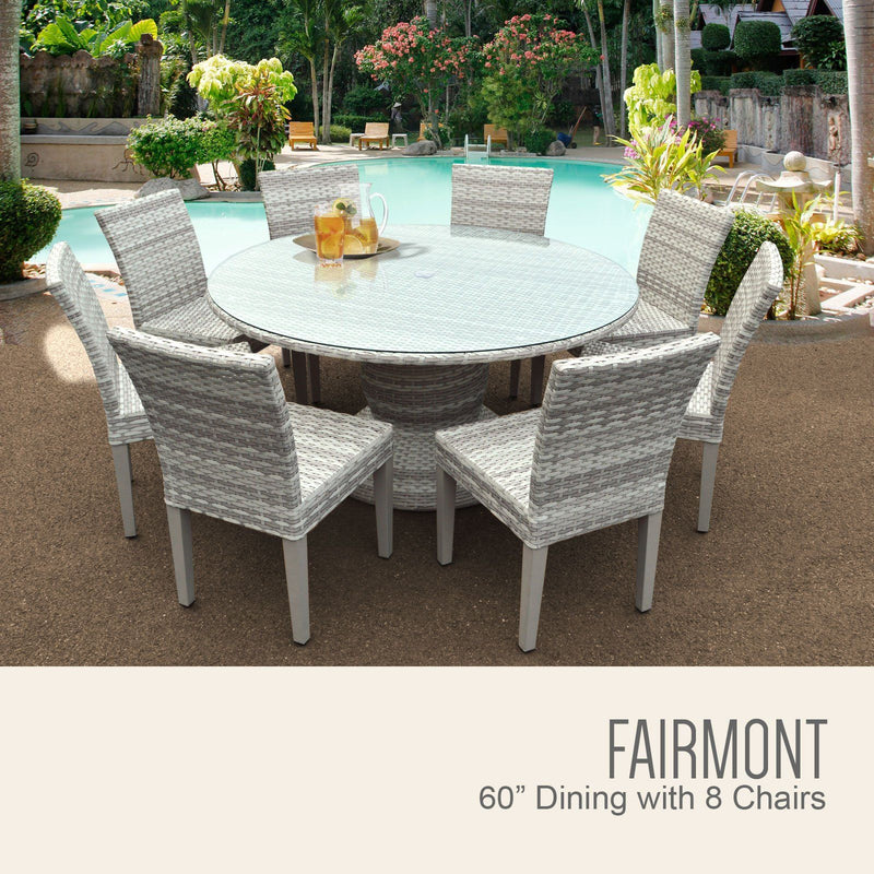 TK CLASSICS Fairmont 60 Inch Outdoor Patio Dining Table with 8 Armless Chairs (No Cushions)