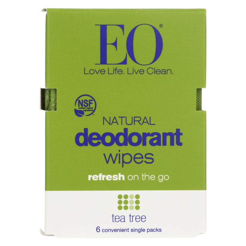 Eo Products Deodorant Wipe - Tea Tree - Case of 12 - 6 count | Kipe it