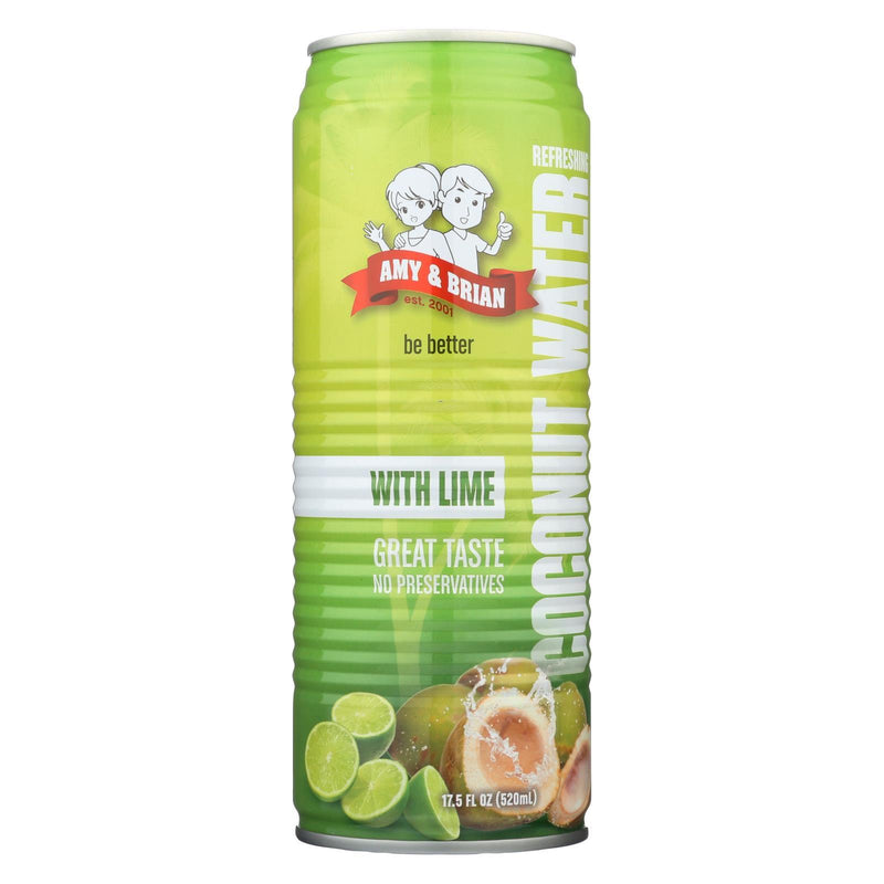 Amy and Brian Coconut Water with Lime - Case of 12 - 17.5 fl oz | Kipe it