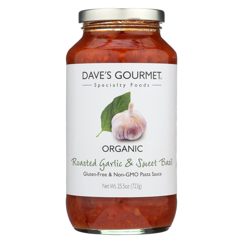 Dave's Gourmet Organic Roasted Garlic and Sweet Basil Pasta Sauce - Case of 6 - 25.5 FL oz. | Kipe it