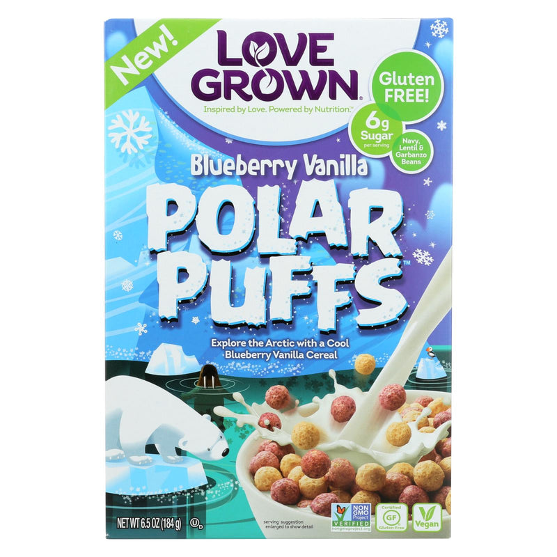 Love Grown Foods Blueberry Vanilla Polar Puffs - Case of 6 - 6.5 oz. | Kipe it
