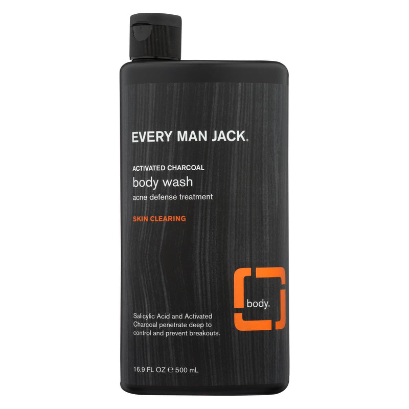 EVERY MAN JACK Body Wash Activated Charcoal Body Wash | Skin Clearing - Case of 16.9 - 16.9 fl oz. | Kipe it