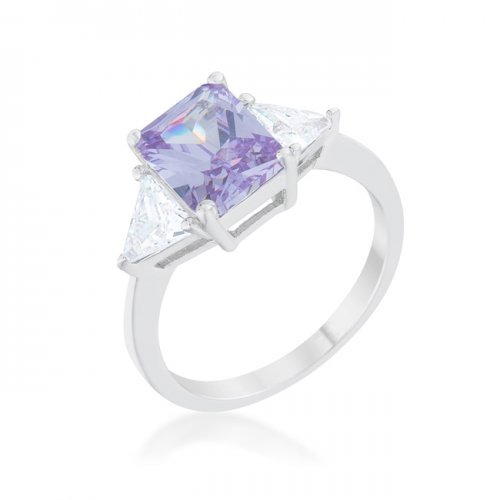 Classic Lavender Rhodium Engagement Ring (size: 05) (pack of 1 ea) | Kipe it
