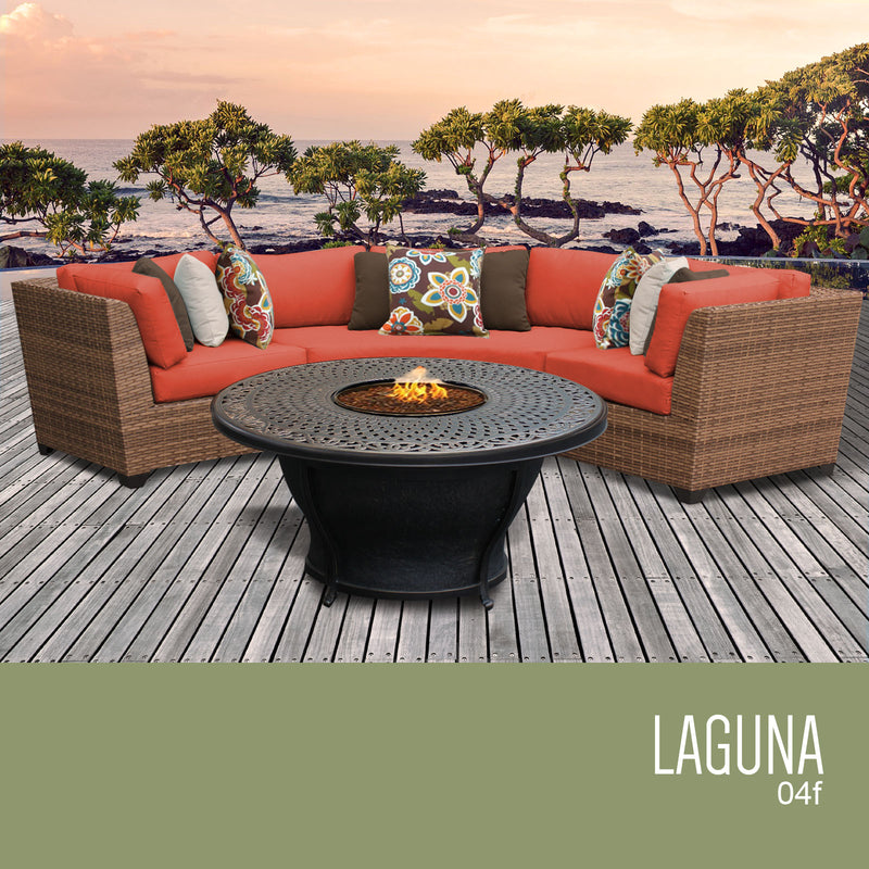 TK CLASSICS Laguna 4 Piece Outdoor Wicker Patio Furniture Set 04f - Tangerine