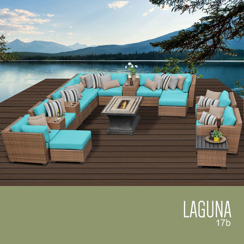 TK CLASSICS Laguna 17 Piece Outdoor Wicker Patio Furniture Set 17b - Aruba | Kipe it