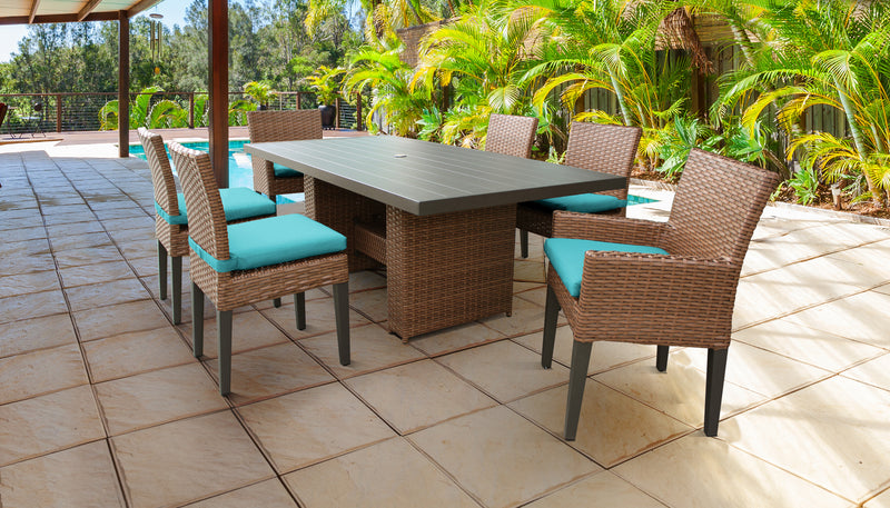 TK CLASSICS Laguna Rectangular Outdoor Patio Dining Table with with 4 Armless Chairs and 2 Chairs w/ Arms - Aruba | Kipe it