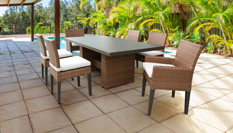 TK CLASSICS Laguna Rectangular Outdoor Patio Dining Table with with 4 Armless Chairs and 2 Chairs w/ Arms - Sail White | Kipe it