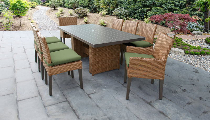 TK CLASSICS Laguna Rectangular Outdoor Patio Dining Table with with 6 Armless Chairs and 2 Chairs w/ Arms - Cilantro | Kipe it