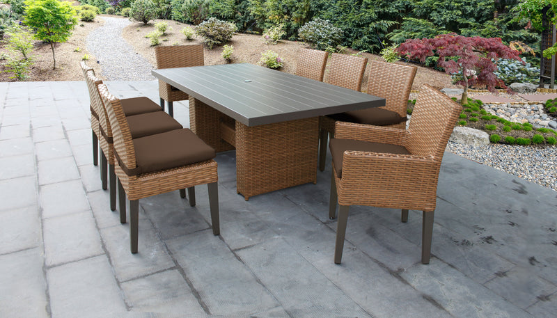 TK CLASSICS Laguna Rectangular Outdoor Patio Dining Table with with 6 Armless Chairs and 2 Chairs w/ Arms - Cocoa | Kipe it
