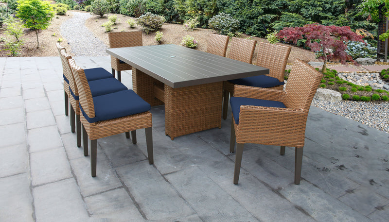 TK CLASSICS Laguna Rectangular Outdoor Patio Dining Table with with 6 Armless Chairs and 2 Chairs w/ Arms - Navy | Kipe it