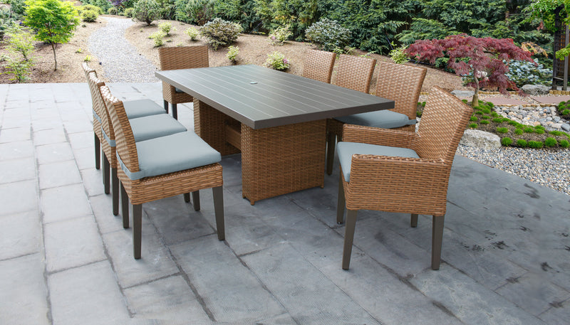 TK CLASSICS Laguna Rectangular Outdoor Patio Dining Table with with 6 Armless Chairs and 2 Chairs w/ Arms - Spa | Kipe it