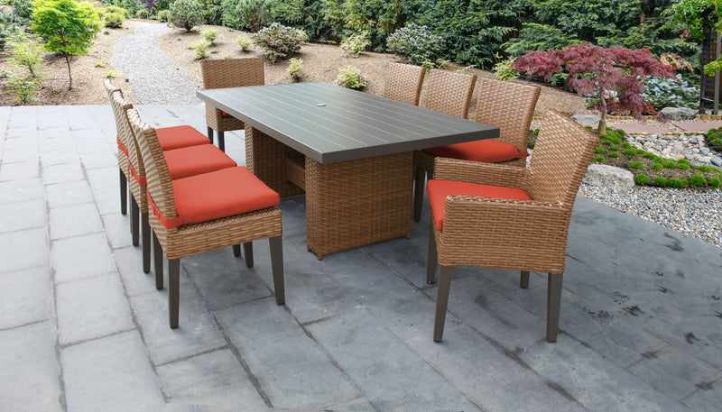 TK CLASSICS Laguna Rectangular Outdoor Patio Dining Table with with 6 Armless Chairs and 2 Chairs w/ Arms - Tangerine | Kipe it