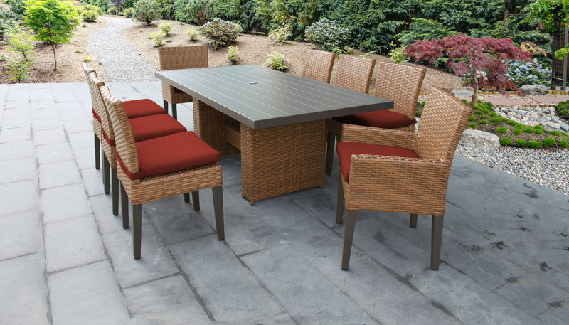 TK CLASSICS Laguna Rectangular Outdoor Patio Dining Table with with 6 Armless Chairs and 2 Chairs w/ Arms - Terracotta | Kipe it