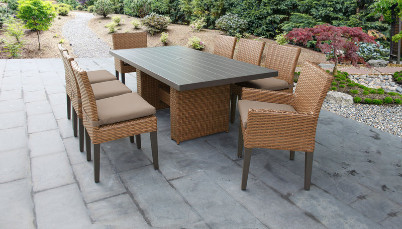 TK CLASSICS Laguna Rectangular Outdoor Patio Dining Table with with 6 Armless Chairs and 2 Chairs w/ Arms - Wheat | Kipe it