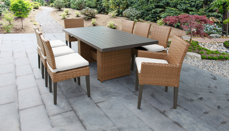 TK CLASSICS Laguna Rectangular Outdoor Patio Dining Table with with 6 Armless Chairs and 2 Chairs w/ Arms - Sail White