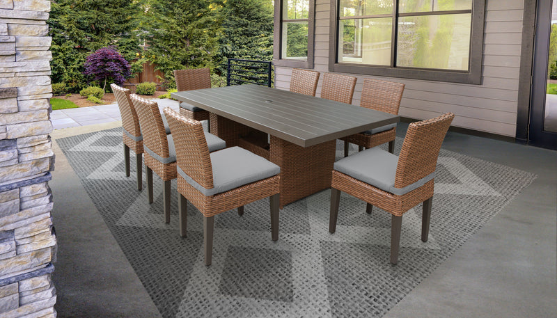 TK CLASSICS Laguna Rectangular Outdoor Patio Dining Table with 8 Armless Chairs - Grey | Kipe it