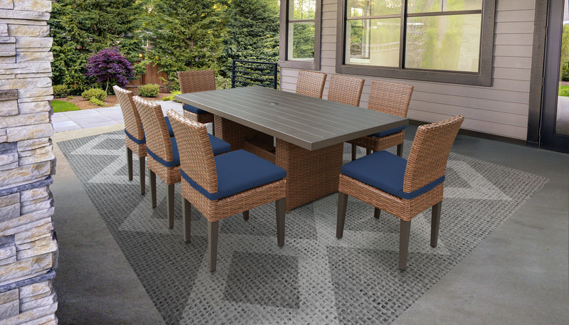 TK CLASSICS Laguna Rectangular Outdoor Patio Dining Table with 8 Armless Chairs - Navy | Kipe it