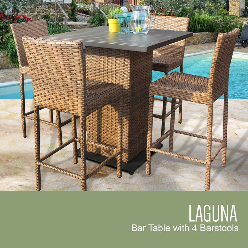 TK CLASSICS Laguna Pub Table Set With Barstools 5 Piece Outdoor Wicker Patio Furniture (No Cushions) | Kipe it