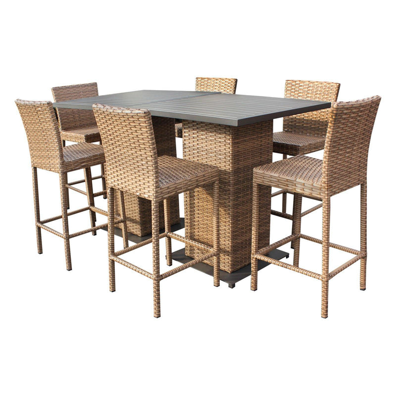 TK CLASSICS Laguna Pub Table Set With Barstools 8 Piece Outdoor Wicker Patio Furniture (No Cushions) | Kipe it