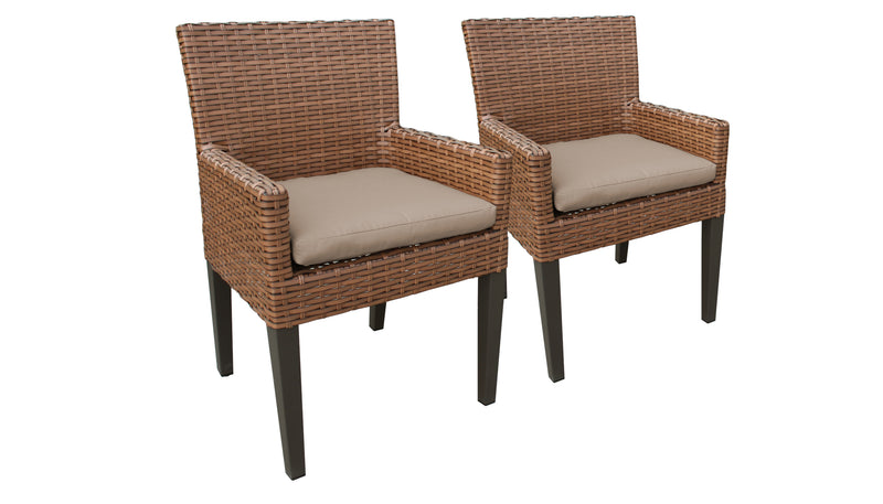 TK CLASSICS Laguna Rectangular Outdoor Patio Dining Table with with 6 Armless Chairs and 2 Chairs w/ Arms - Beige