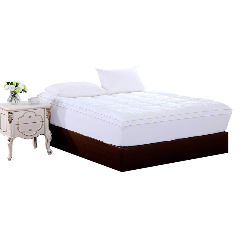 "18"" Square Quilted Accent King Piping Mattress Pad With Fitted Cover 