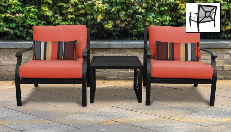 TK Classics kathy ireland Homes & Gardens Madison Ave. 3 Piece Outdoor Aluminum Patio Furniture Set 03a - Persimmon | Kipe it