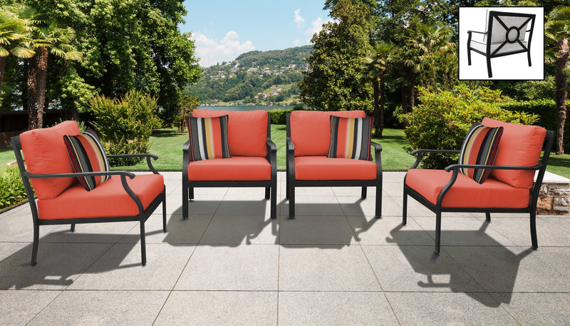 TK Classics kathy ireland Homes & Gardens Madison Ave. 4 Piece Outdoor Aluminum Patio Furniture 04g - Persimmon | Kipe it