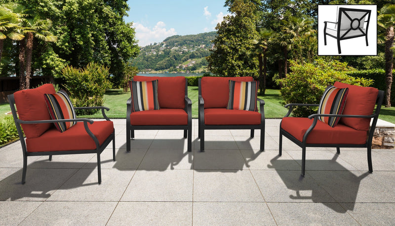 TK Classics kathy ireland Homes & Gardens Madison Ave. 4 Piece Outdoor Aluminum Patio Furniture 04g - Cinnamon | Kipe it