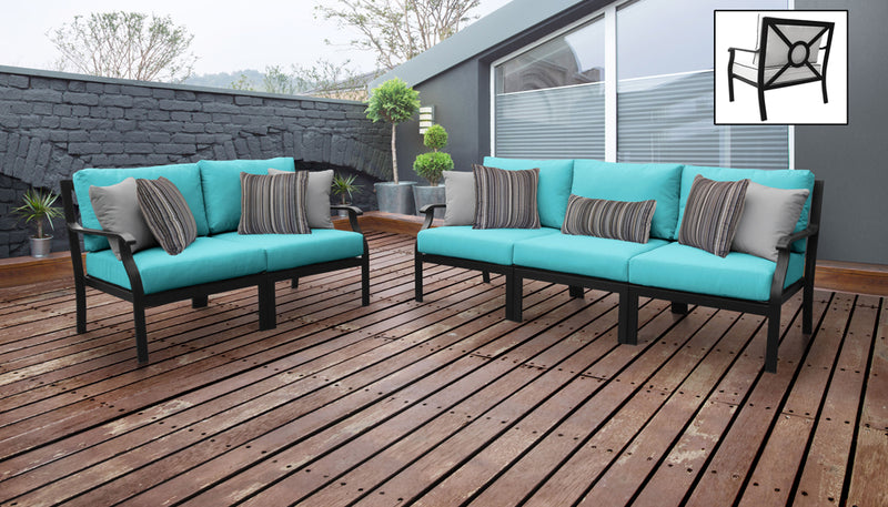 TK Classics kathy ireland Homes & Gardens Madison Ave. 5 Piece Outdoor Aluminum Patio Furniture 05a - Aqua