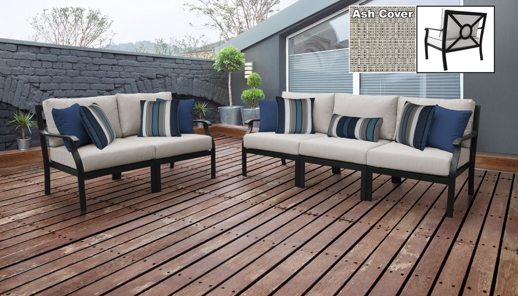 TK Classics kathy ireland Homes & Gardens Madison Ave. 5 Piece Outdoor Aluminum Patio Furniture 05a - Truffle | Kipe it