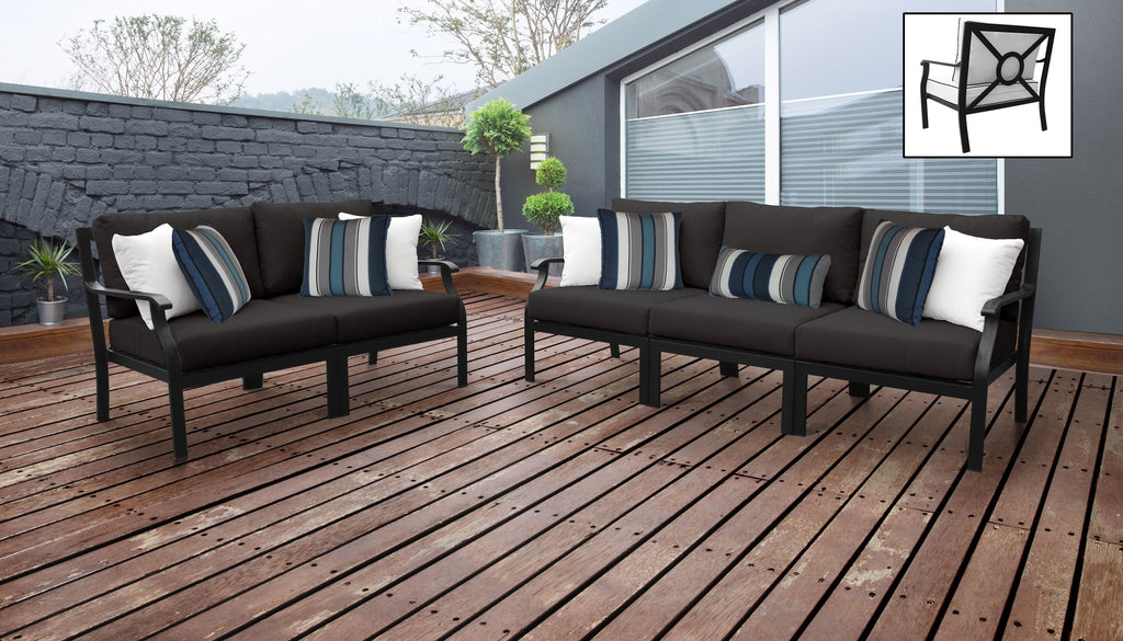 TK Classics kathy ireland Homes & Gardens Madison Ave. 5 Piece Outdoor Aluminum Patio Furniture 05a - Onyx | Kipe it