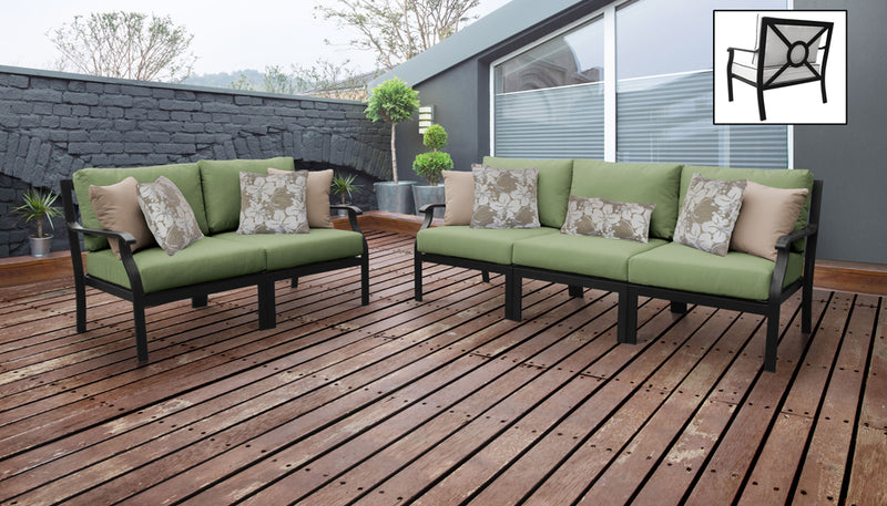 TK Classics kathy ireland Homes & Gardens Madison Ave. 5 Piece Outdoor Aluminum Patio Furniture 05a - Forest | Kipe it