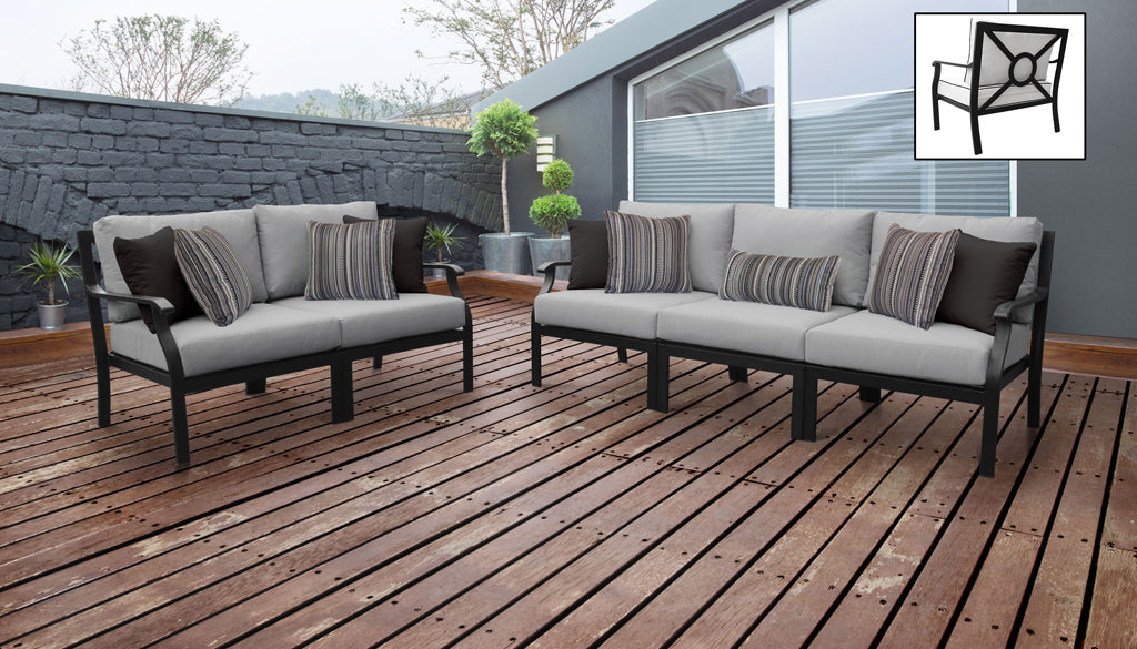 TK Classics kathy ireland Homes & Gardens Madison Ave. 5 Piece Outdoor Aluminum Patio Furniture 05a - Slate