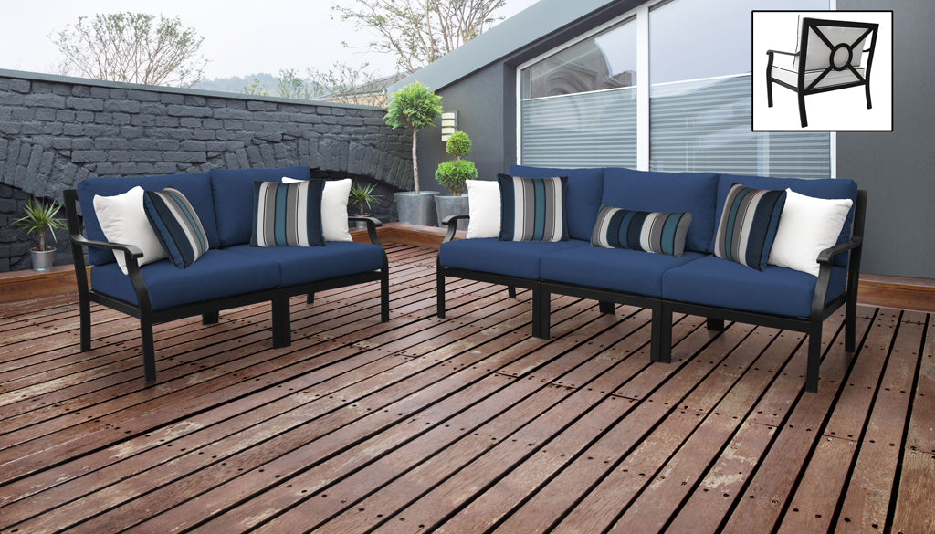TK Classics kathy ireland Homes & Gardens Madison Ave. 5 Piece Outdoor Aluminum Patio Furniture 05a - Navy