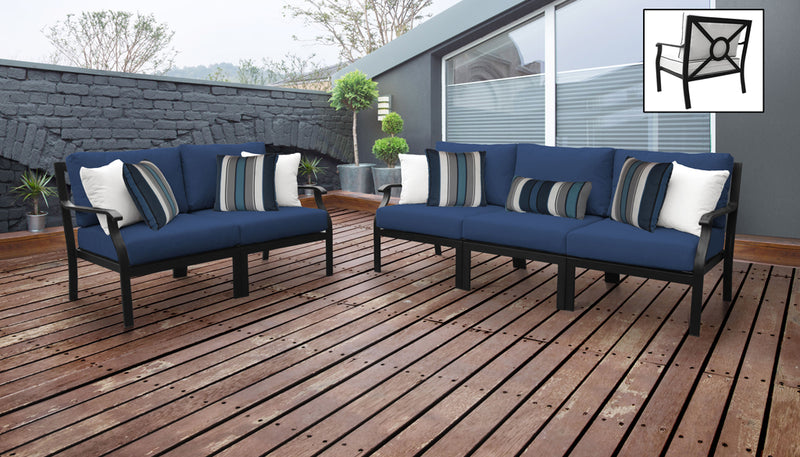 TK Classics kathy ireland Homes & Gardens Madison Ave. 5 Piece Outdoor Aluminum Patio Furniture 05a - Navy | Kipe it