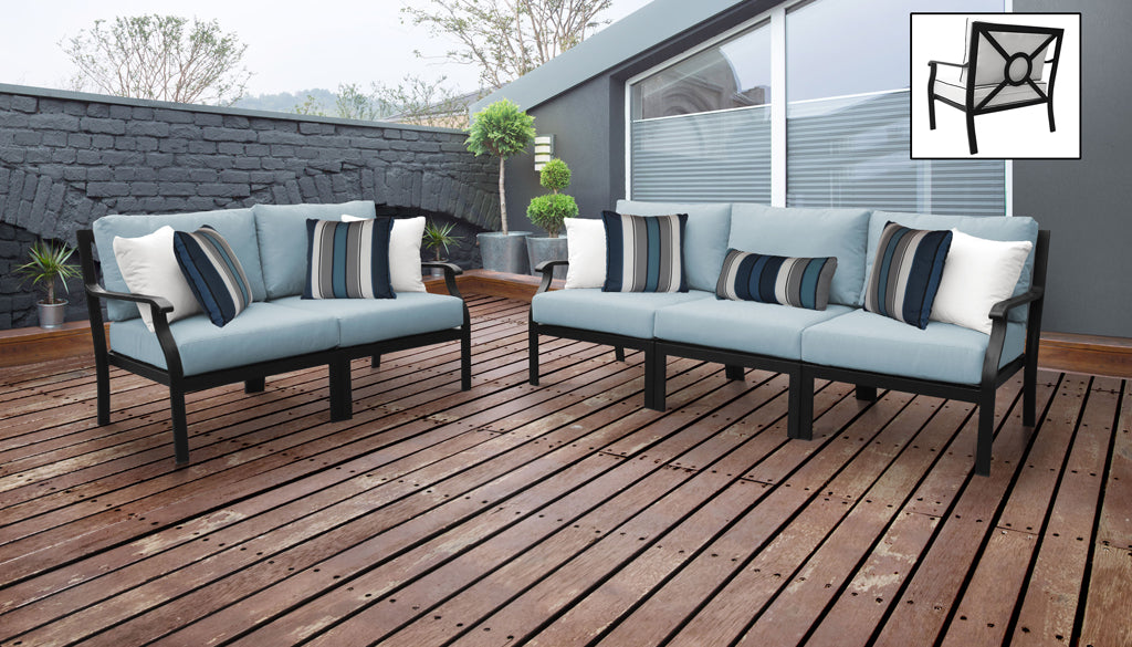 TK Classics kathy ireland Homes & Gardens Madison Ave. 5 Piece Outdoor Aluminum Patio Furniture 05a - Tranquil | Kipe it