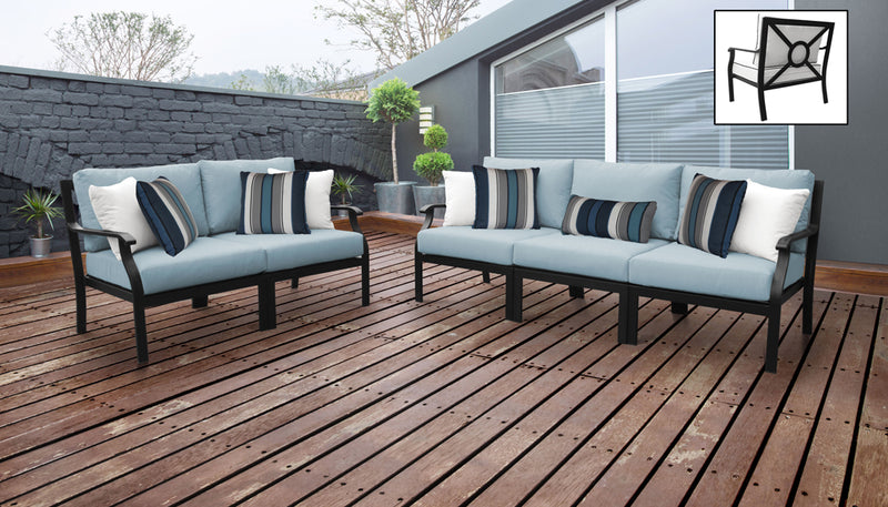 TK Classics kathy ireland Homes & Gardens Madison Ave. 5 Piece Outdoor Aluminum Patio Furniture 05a - Tranquil