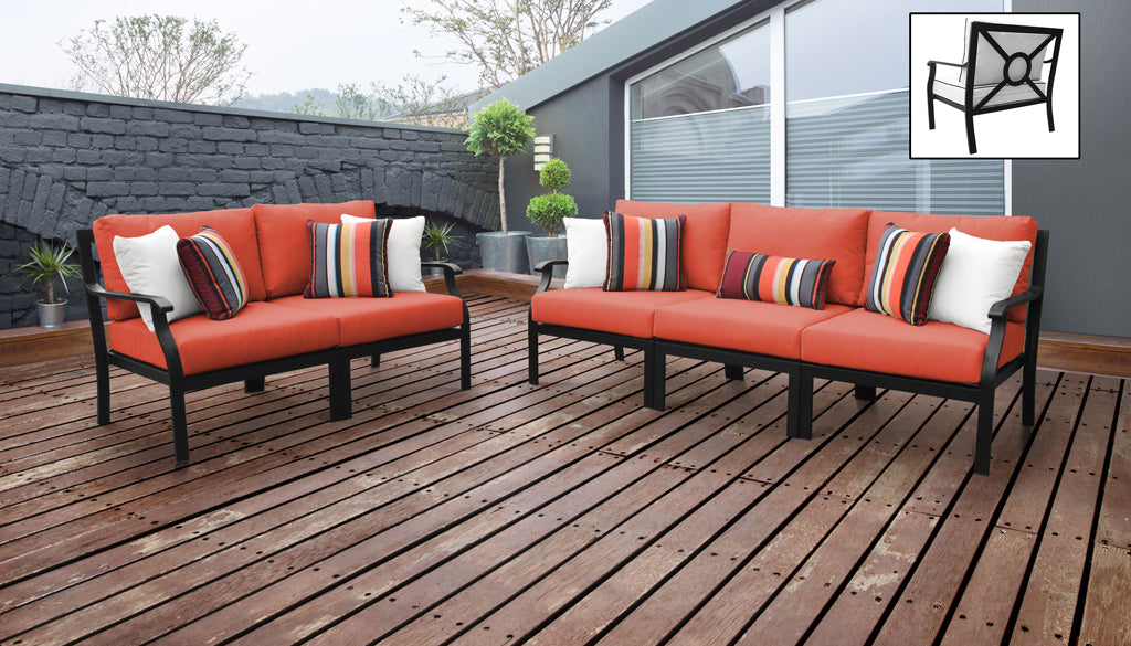 TK Classics kathy ireland Homes & Gardens Madison Ave. 5 Piece Outdoor Aluminum Patio Furniture 05a - Persimmon