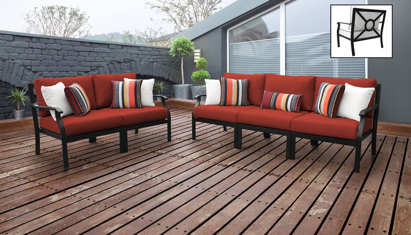 TK Classics kathy ireland Homes & Gardens Madison Ave. 5 Piece Outdoor Aluminum Patio Furniture 05a - Cinnamon | Kipe it