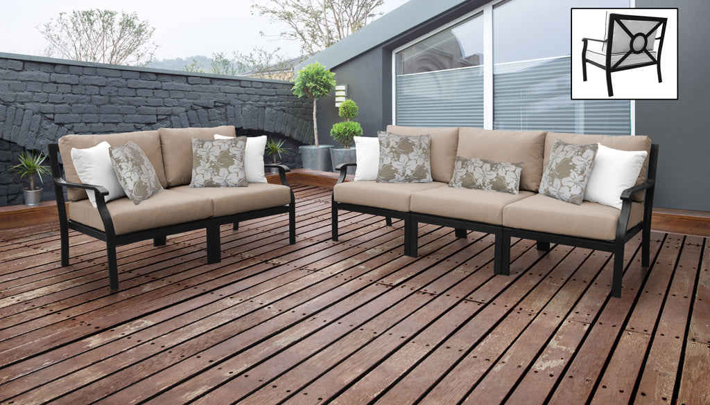 TK Classics kathy ireland Homes & Gardens Madison Ave. 5 Piece Outdoor Aluminum Patio Furniture 05a - Toffee | Kipe it