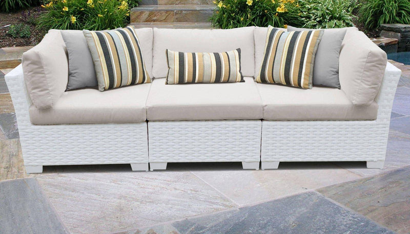 TK CLASSICS Monaco 3 Piece Outdoor Wicker Patio Furniture Set 03b - Beige | Kipe it