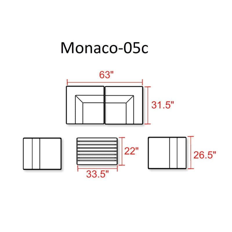 TK CLASSICS Monaco 5 Piece Outdoor Wicker Patio Furniture Set 05c - Terracotta | Kipe it