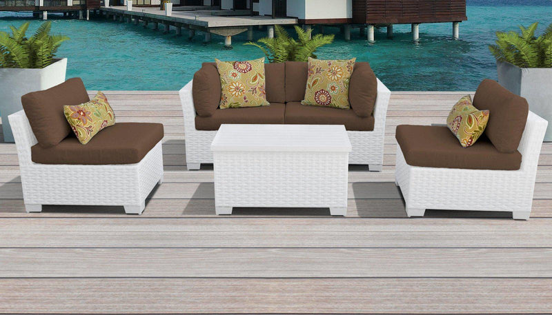 TK CLASSICS Monaco 5 Piece Outdoor Wicker Patio Furniture Set 05c - Cocoa | Kipe it