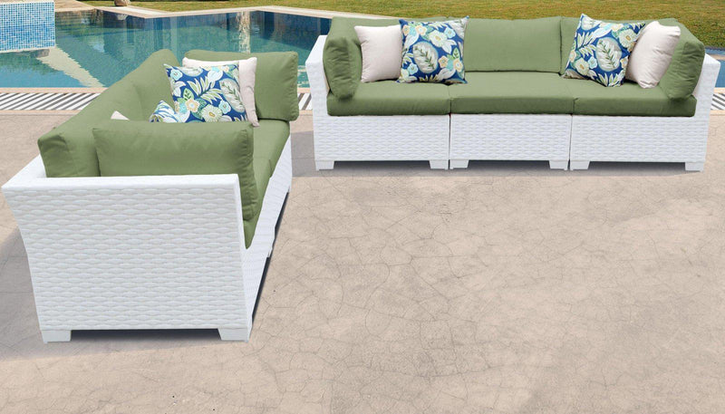 TK CLASSICS Monaco 5 Piece Outdoor Wicker Patio Furniture Set 05d - Cilantro | Kipe it