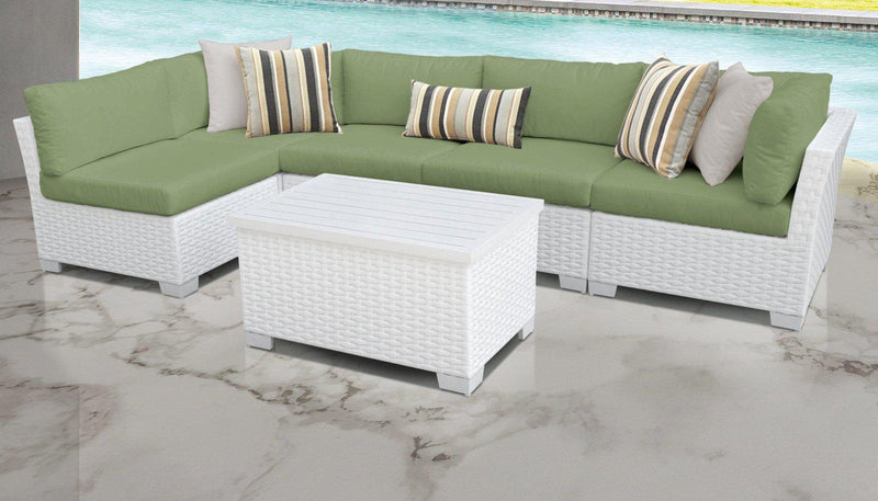 TK CLASSICS Monaco 6 Piece Outdoor Wicker Patio Furniture Set 06a - Cilantro | Kipe it