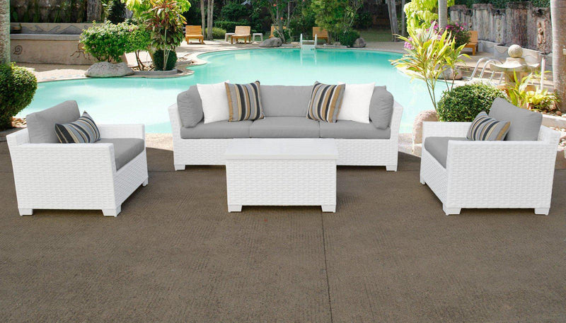TK CLASSICS Monaco 6 Piece Outdoor Wicker Patio Furniture Set 06b - Grey | Kipe it